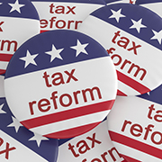 tax reform buttons with stars and stripes