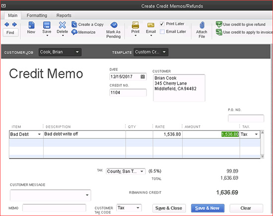 QuickBooks - Credit Memos/Refunds