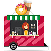 Donut and coffee food truck