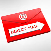 "Red envelope with a white arrow labeled ""Direct Mail"""