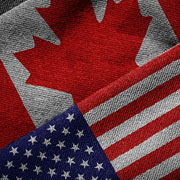 Canadian flag and the United States of America flag