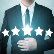 Man in business suit with 5 stars overlaid