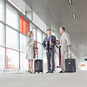 Business people at the airport with luggage