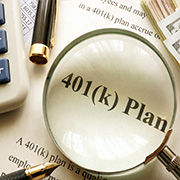 401(k) plan under a magnifying glass