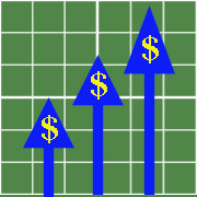Chart with upward arrows with dollar signs.