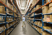 Warehouse employee tracking inventory