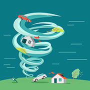 Illustration of a house and cars in a tornado