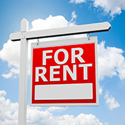 """Red """"For Rent"""" sign"""