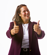 Lady giving two thumbs up