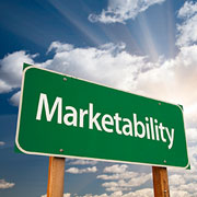 """Green highway sign labeled """"Marketability"""""""