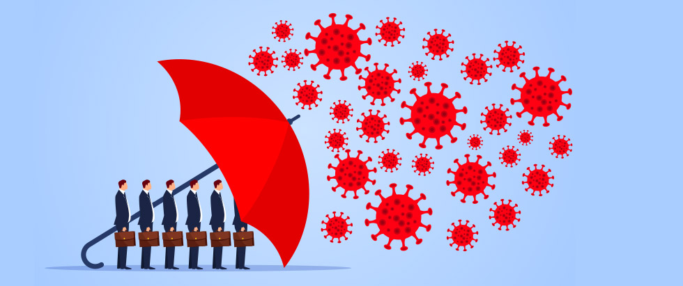 Umbrella protecting business from COVID-19
