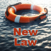 """Life preserver ring in the water with text below it that says """"New Law"""""""