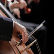 Cellist musician playing a cello