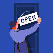 "Illustration of an entrepreneur hanging up an ""Open"" sign"