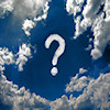 View of the sky with clouds and a question mark