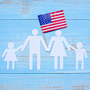 family with the American flag