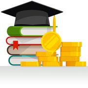 Graduation cap, textbooks, and coins