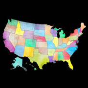 Multi-color map of the United States