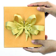 Gift with a yellow ribbon