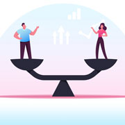 man and woman standing on both sides of a balanced scale
