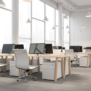 workspaces in an office