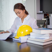 construction professional reviewing documents