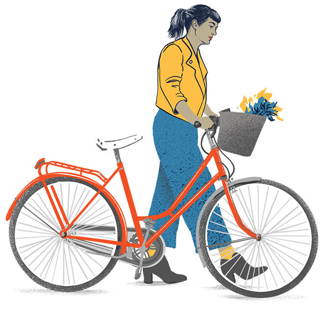 Cyclist walking bike with flowers in the basket - DrumRole