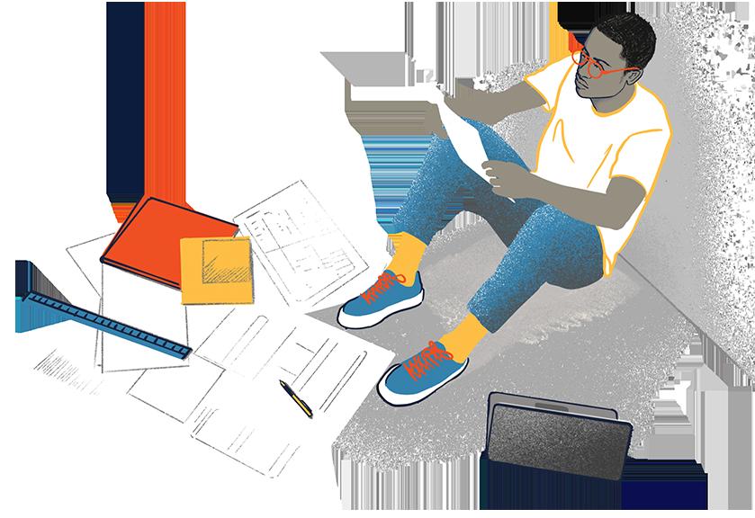 Man studying illustration - Drumrole