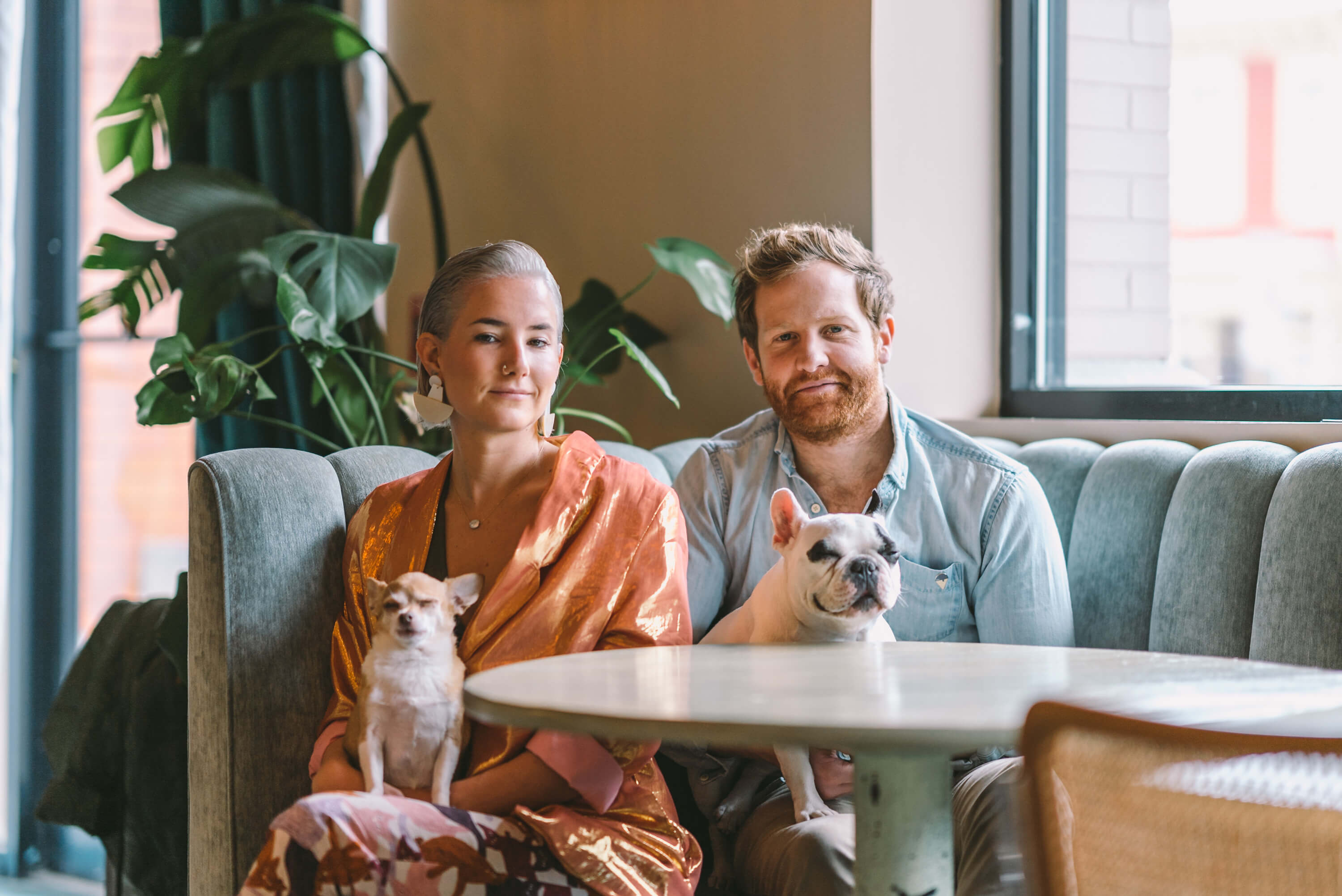 Hospitality duo Rebecca Johnson and Rowen McDermott with their dogs Frankie and Ozzie for Wellfed Creative Podcast