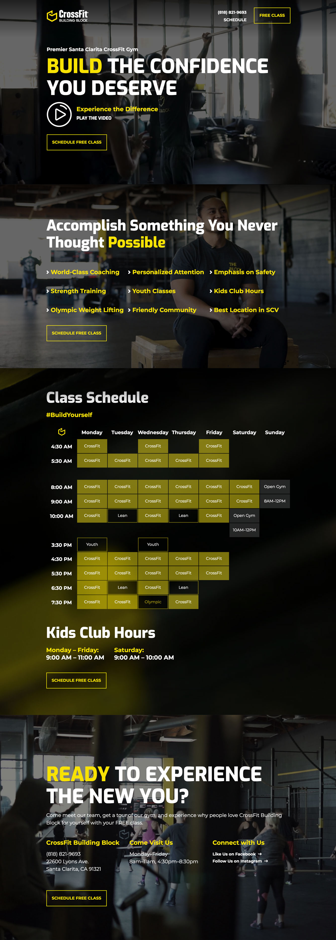 Landing Page design for a CrossFit gym.