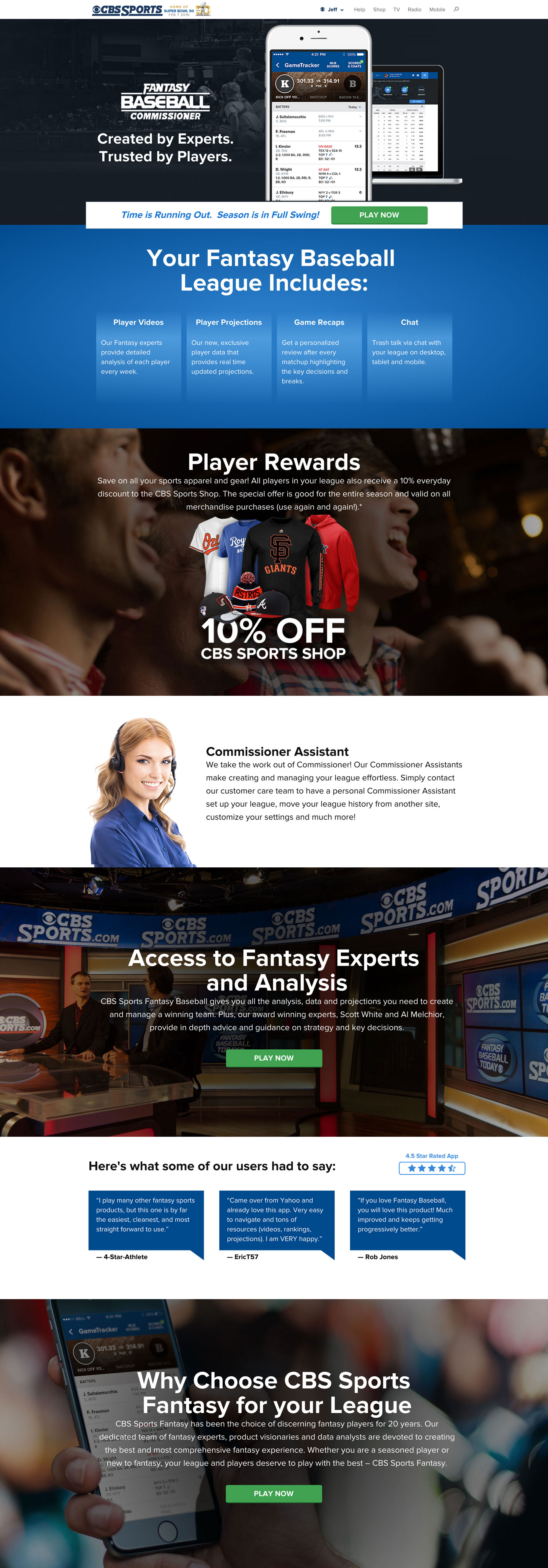 Landing Page design for a Fantasy Sports brand.