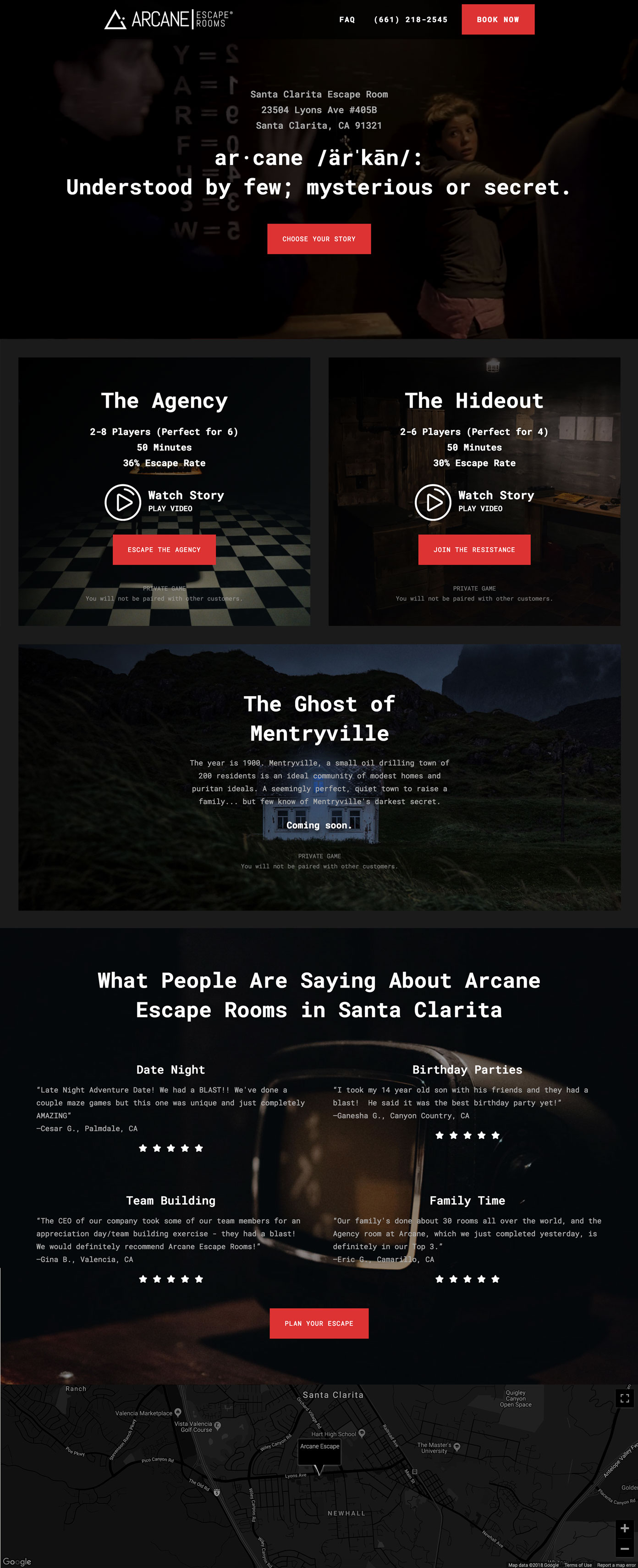 Landing Page design for an escape room.