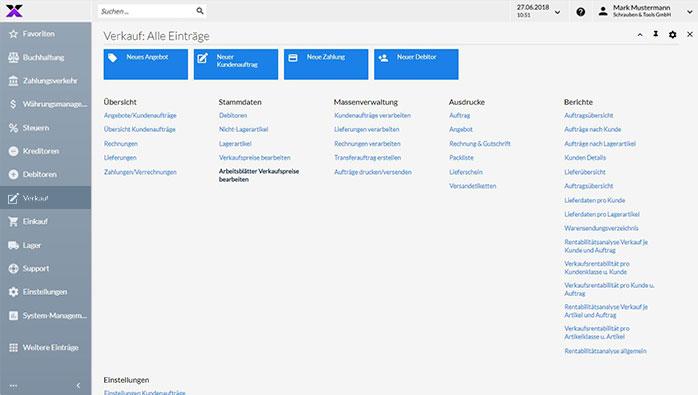 lexbizz ERP – Dashboard Verkauf