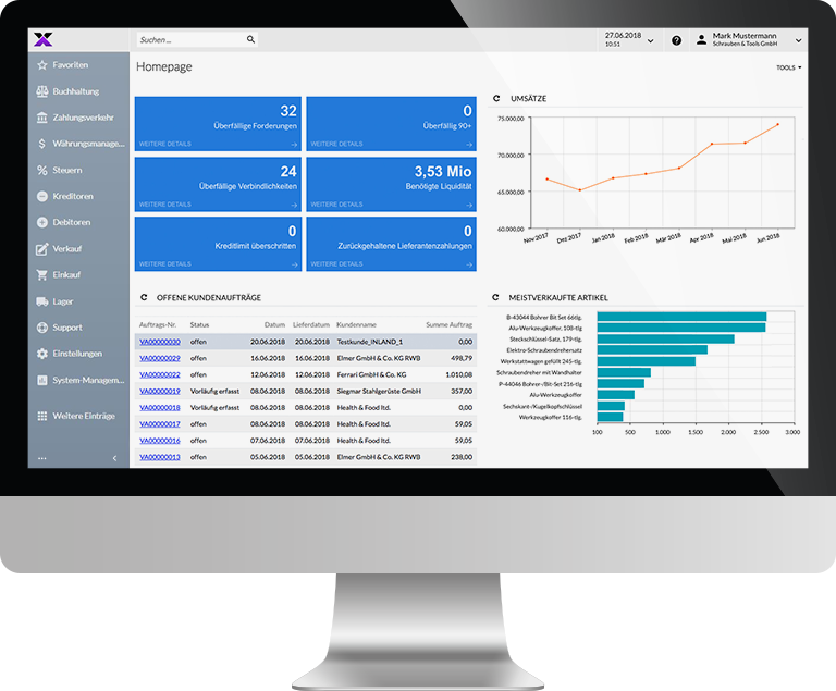 lexbizz ERP – Dashboard