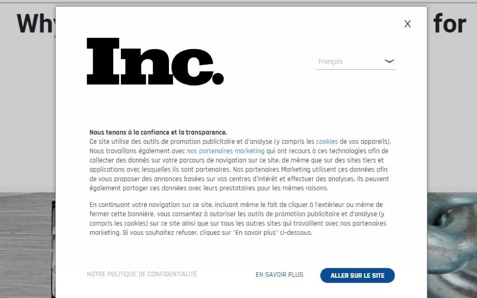 Le RGPD vu d'ailleurs Screenshot Inc.com