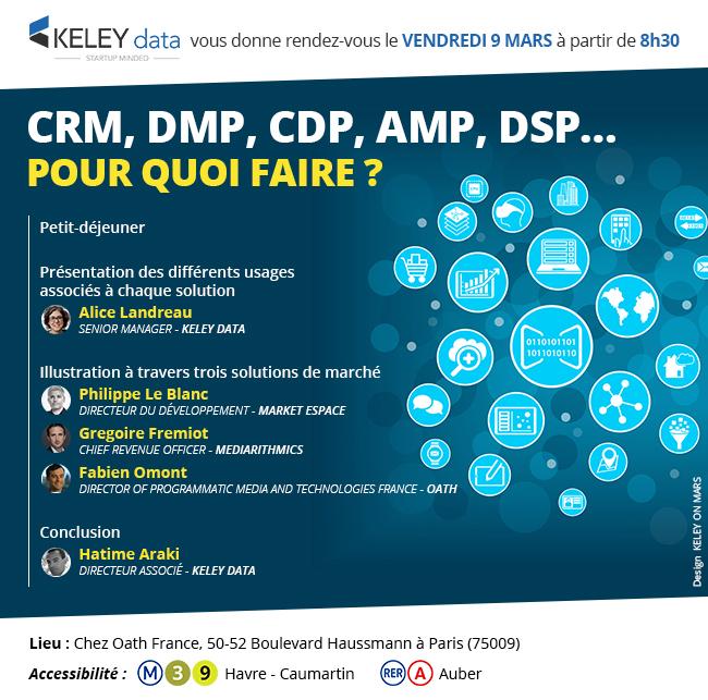 "4 cas d'usage du ""marketing data driven"" crm dmp cdp amp dsp conférence keley data"