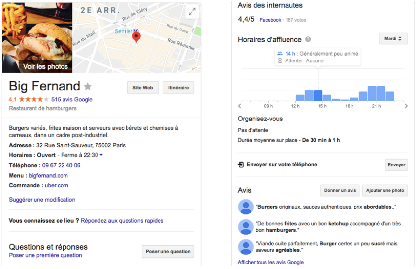 Image de Google My Business pour les restaurants Big Fernand