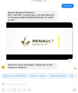 Interface de Navi, le chatbot de Renault Maroc