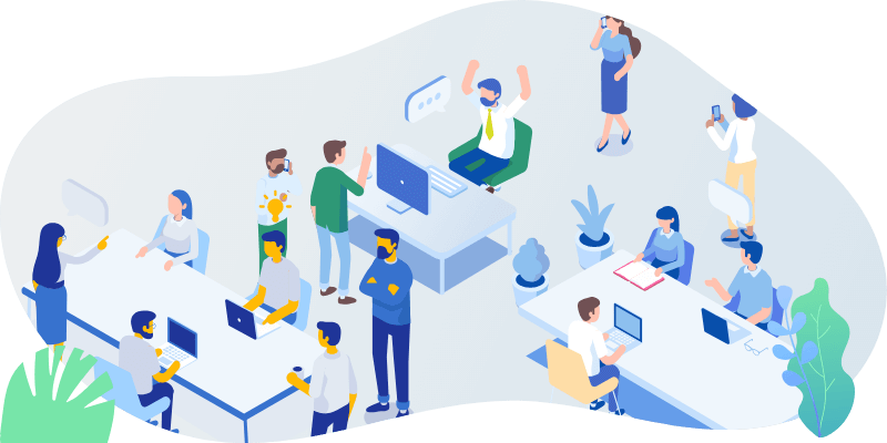 Isometric office crowd not utilizing Omni in their office environment