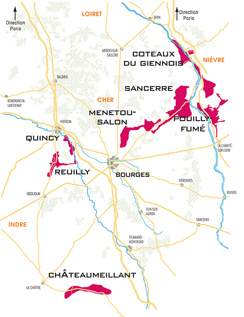 A map of the Burgundy wine-growing regions