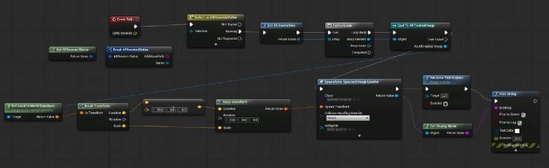 Typical game engine workflow for tracked images