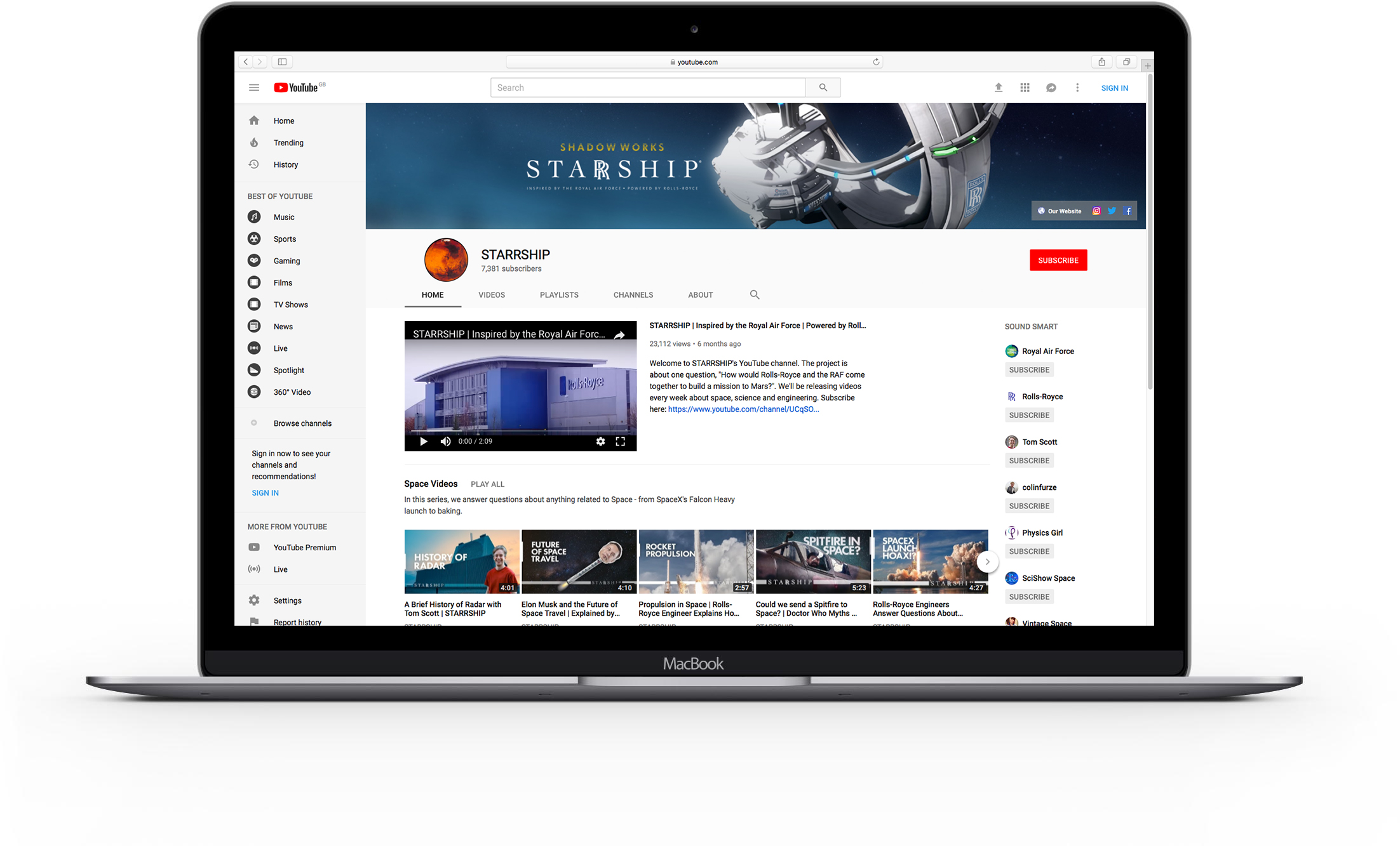Starrship YouTube Channel Laptop Mockup