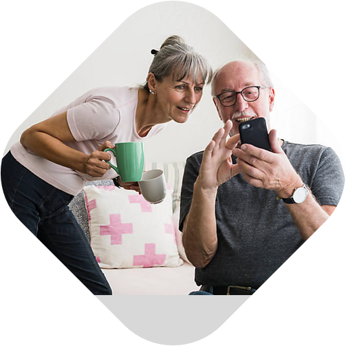 old couple using mobile application