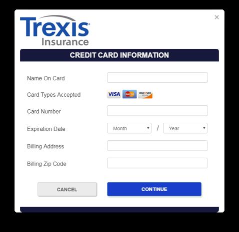 Trexis Insurance app screen