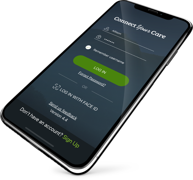 Connect Your Care mobile app solutions screen