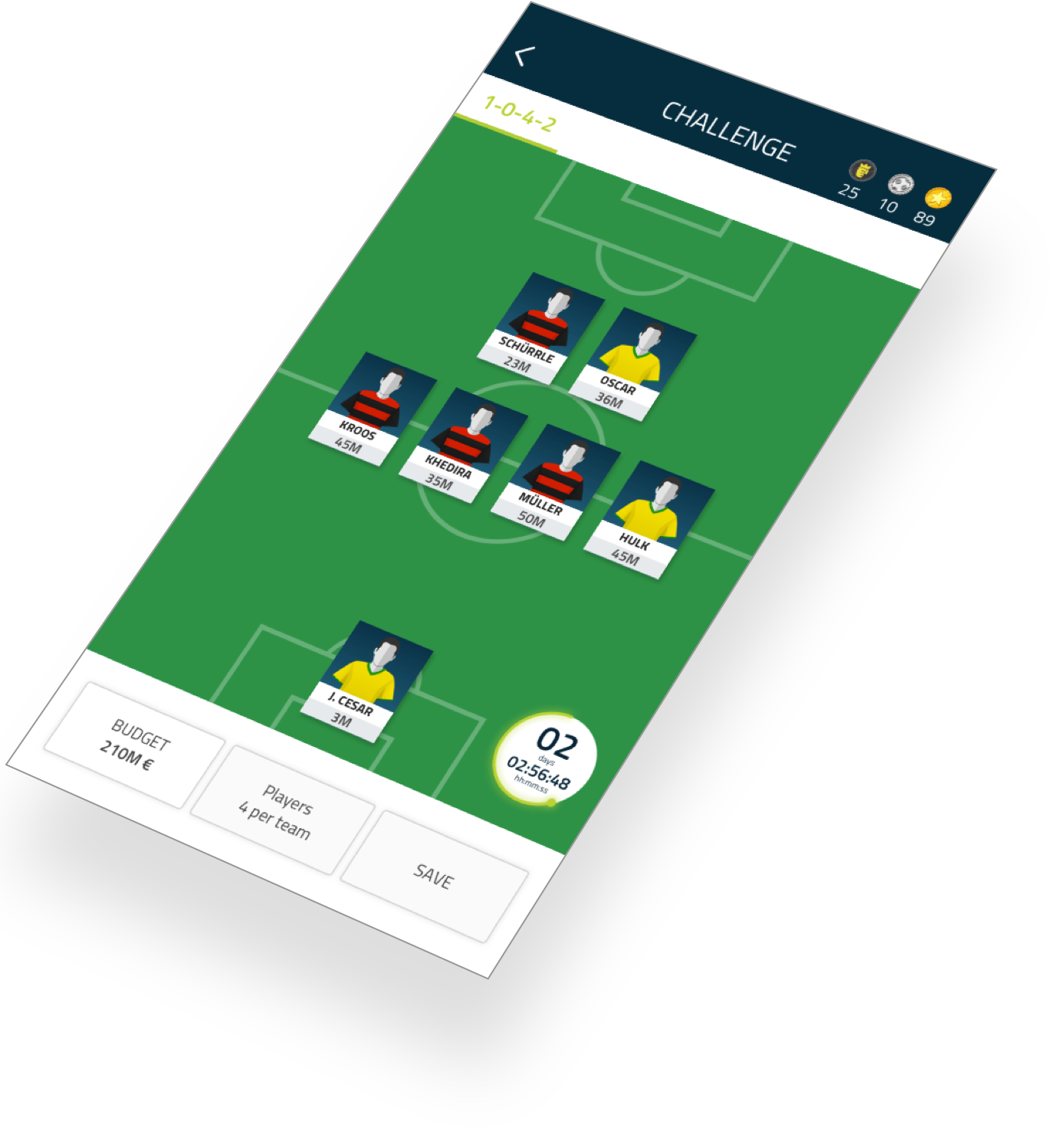 Football-Stars mobile app screen 2