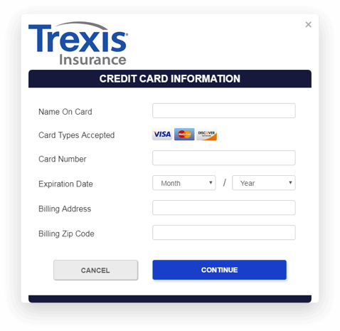 Trexis Insurance app screen