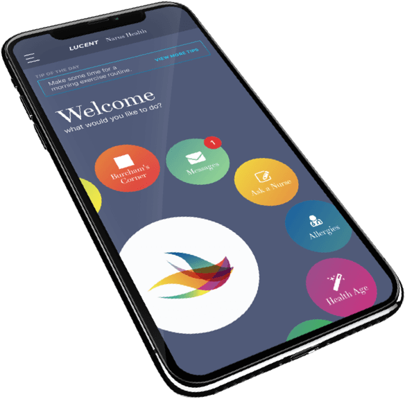 Narus Health mobile app solution in iPhoneX