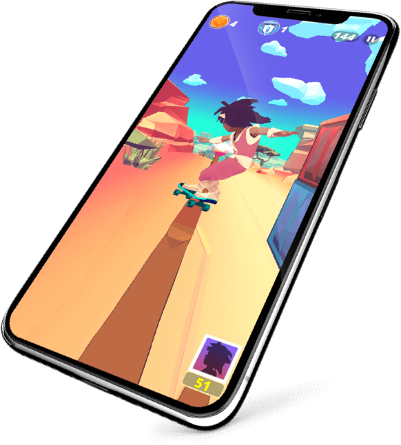 Infinite Skater game mobile solution in iPhoneX