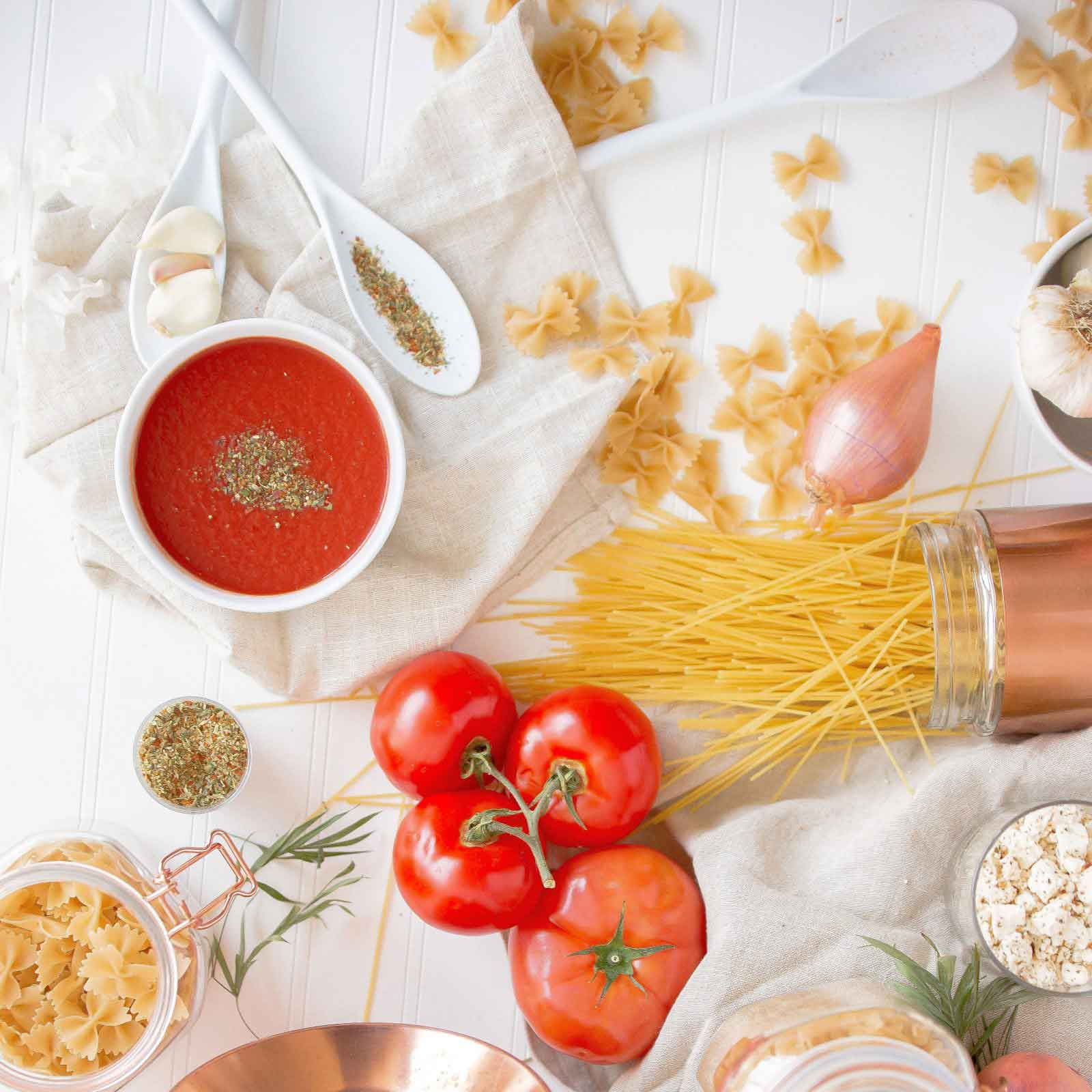 Pasta ingredients covering a cloth